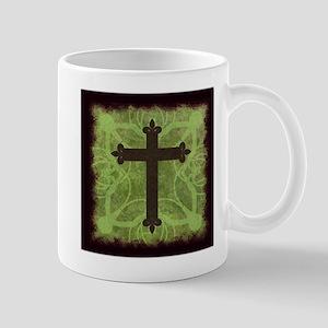 Cross Mug, Greens, Rustic