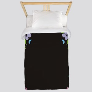 Floral Butterfly black Twin Duvet