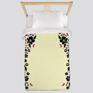 Floral Butterfly cream Twin Duvet