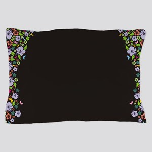 Floral Butterfly black Pillow Case