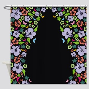 Floral Butterfly black Shower Curtain