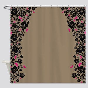 Floral Butterfly mocha Shower Curtain