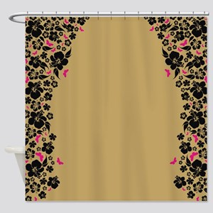 Floral Butterfly gold Shower Curtain