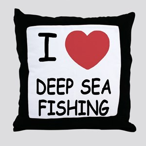 I heart deep sea fishing Throw Pillow