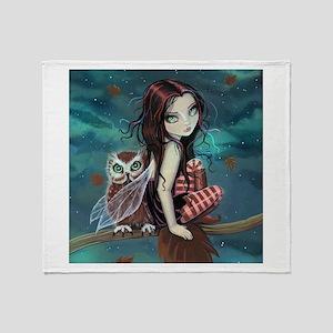Autumn Owl and Fairy Throw Blanket