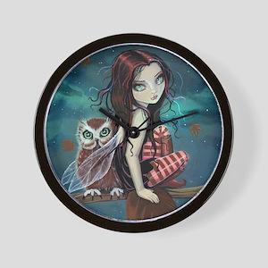 Autumn Owl and Fairy Wall Clock