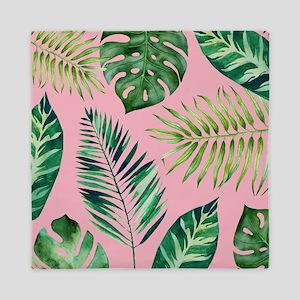 Modern vintage Tropical Palm Leaves Queen Duvet