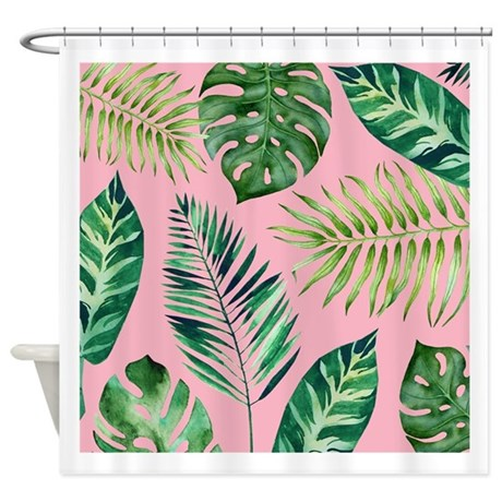 Modern Vintage Tropical Palm Leaves Shower Curtain