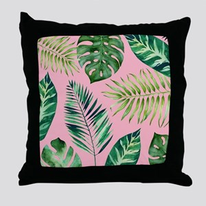 Modern vintage Tropical Palm Leaves Throw Pillow