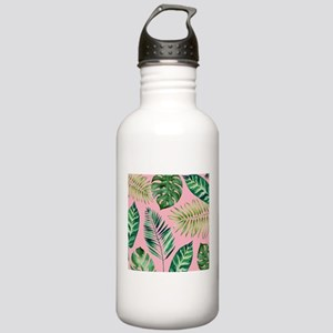 Modern vintage Tropical Palm Leaves Water Bottle