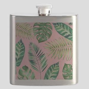 Modern vintage Tropical Palm Leaves Flask