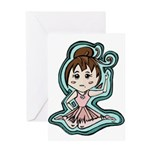 Little Anime Ballerina Greeting Card