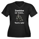 Zombies Eat Brains Women's Plus Size V-Neck Dark T
