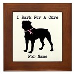 Rottweiler Personalizable I Bark For A Cure Framed