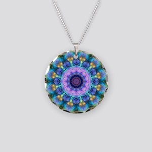 Rainbow Stained Glass Kaleidoscope Necklace Circle