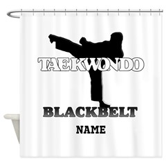 Personalized TKD Black Belt Shower Curtain