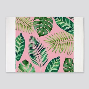 Modern vintage Tropical Palm Leaves 5'x7'Area Rug