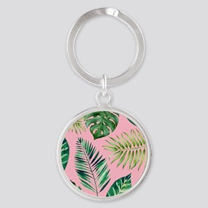 Modern vintage Tropical Palm Leaves Keychains
