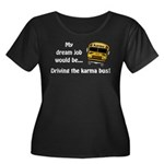Karma Bus Women's Plus Size Scoop Neck Dark T-Shir