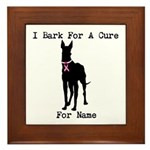 Great Dane Personalizable I Bark For A Cure Framed