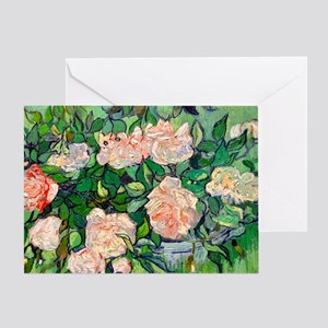 Van Gogh - Pink Roses Greeting Card