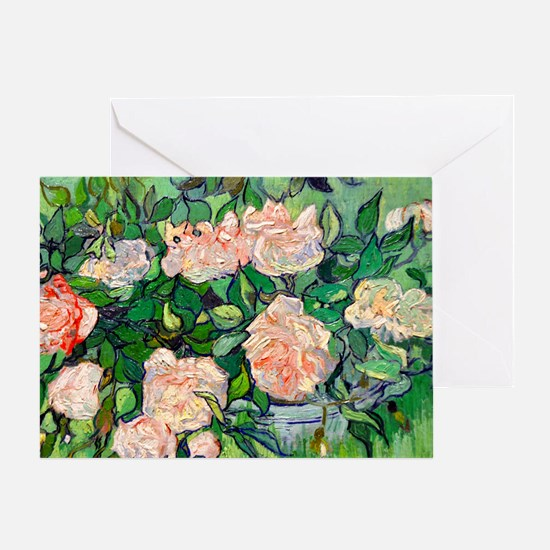 Van Gogh - Pink Roses Greeting Card