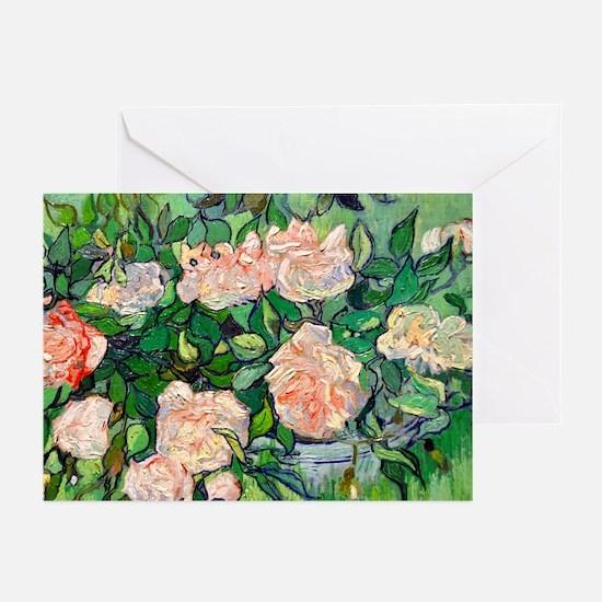 Van Gogh - Pink Roses Greeting Cards (Pk of 10)