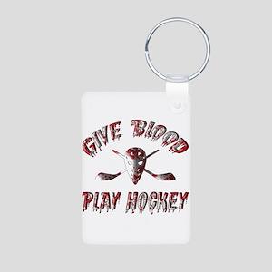 Give Blood Play Hockey Aluminum Photo Keychain
