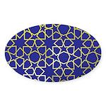 Gold Islamic Art Star Pattern Sticker (Oval)