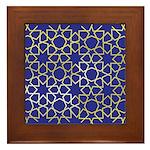 Gold Islamic Art Star Pattern Framed Tile