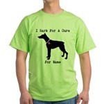 Doberman Personalizable I Bark For A Cure Green T-
