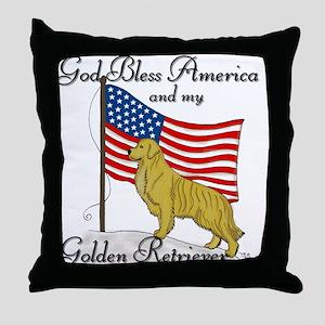 Patriotic Golden Retriever Throw Pillow