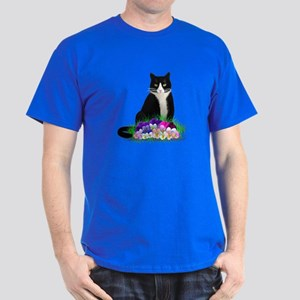 Tuxedo Cat and Pansies Dark T-Shirt