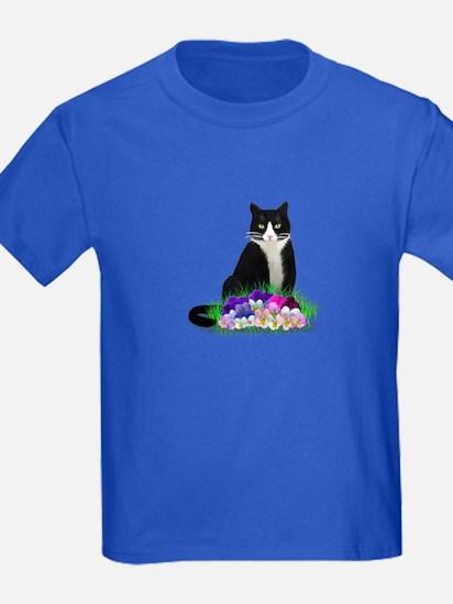 Tuxedo Cat and Pansies T