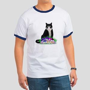 Tuxedo Cat and Pansies Ringer T