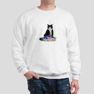 Tuxedo Cat and Pansies Sweatshirt