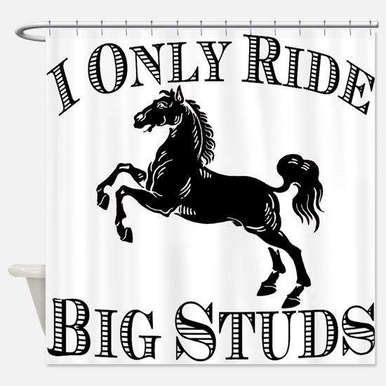 Big Studs - Rearing #1 - Black Shower Curtain
