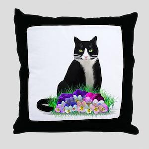 Tuxedo Cat and Pansies Throw Pillow