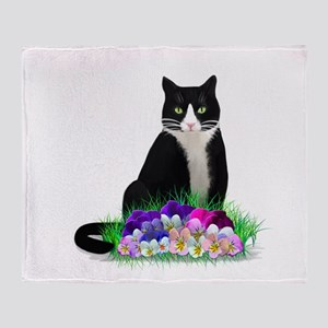 Tuxedo Cat and Pansies Throw Blanket