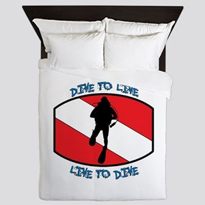 """""""Dive to Live to Dive"""" Queen Duvet"""