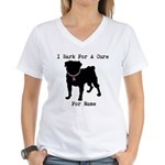 Pug Personalizable Bark For A Women's V-Neck T-Shi