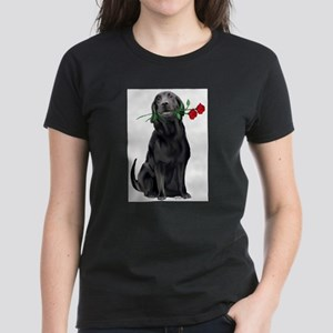 black_lab_with_roses T-Shirt