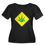 Weed Crossing Women's Plus Size Scoop Neck Dark T-