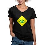 Weed Crossing Women's V-Neck Dark T-Shirt