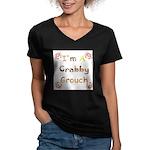 Crabby Grouch Women's V-Neck Dark T-Shirt