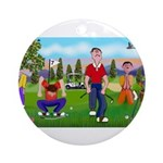 Frustrated golfers cartoon Ornament (Round)
