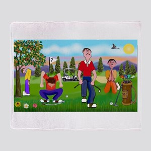 Frustrated golfers cartoon Throw Blanket