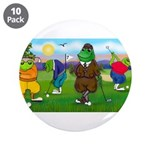 """Golfing frogs 3.5"""" Button (10 pack)"""