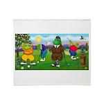 Golfing frogs Throw Blanket