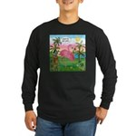 Golfing Flamingo Long Sleeve Dark T-Shirt